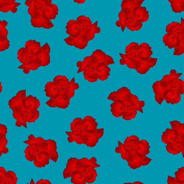 Fleur d'oeillet rouge sur fond bleu Vecteur Premium