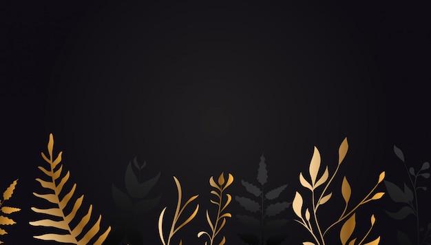 Fleur d'or sur fond noir Vecteur Premium