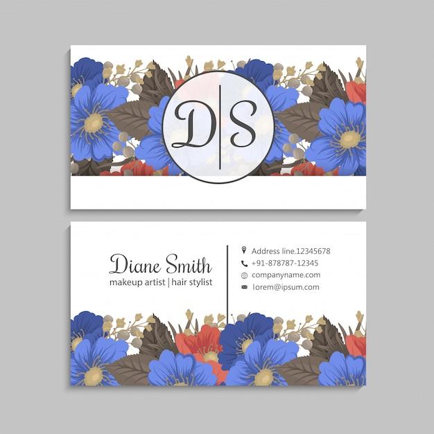 Fleur Page Pensionnaires Fleurs Bleues Et Rouges Vecteur gratuit