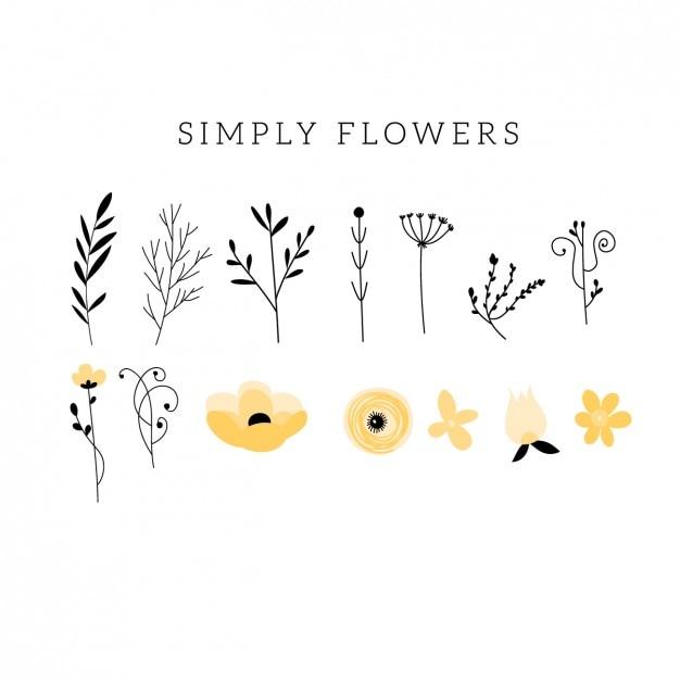 Fleur plat et feuille colletion Vecteur gratuit