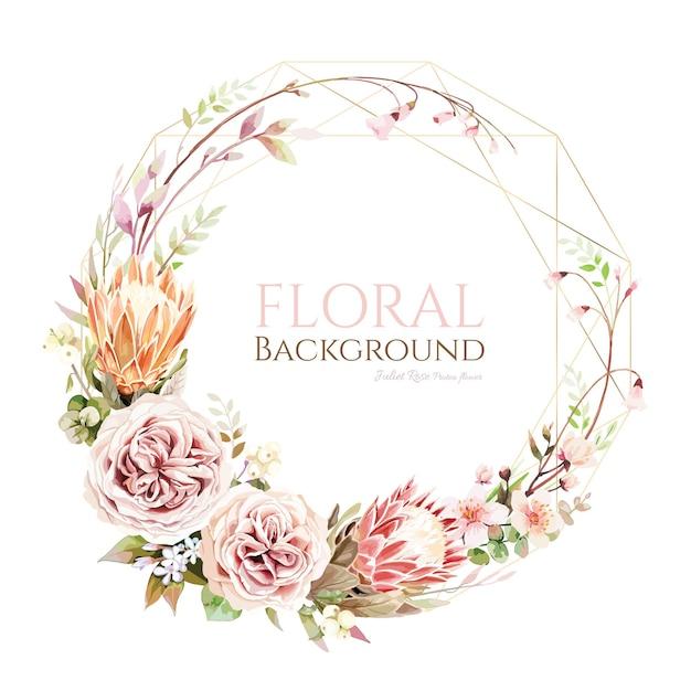 Fleur De Protea Et Couronne De Rose Juliette Pour Carte D'invitation De Mariage. Vecteur Premium