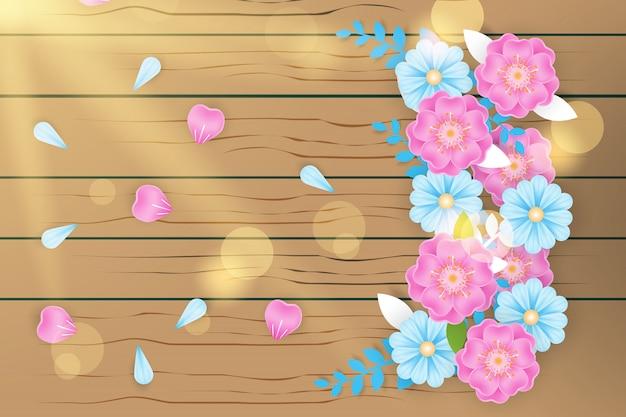 Fleur réaliste sur la texture en bois avec la lumière de bokeh Vecteur Premium