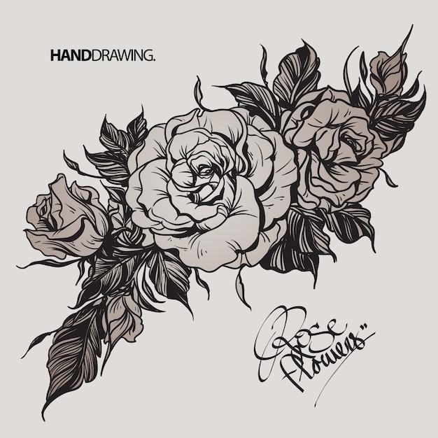 Fleur Rose Noir Et Blanc Dessiné à La Main Télécharger Des