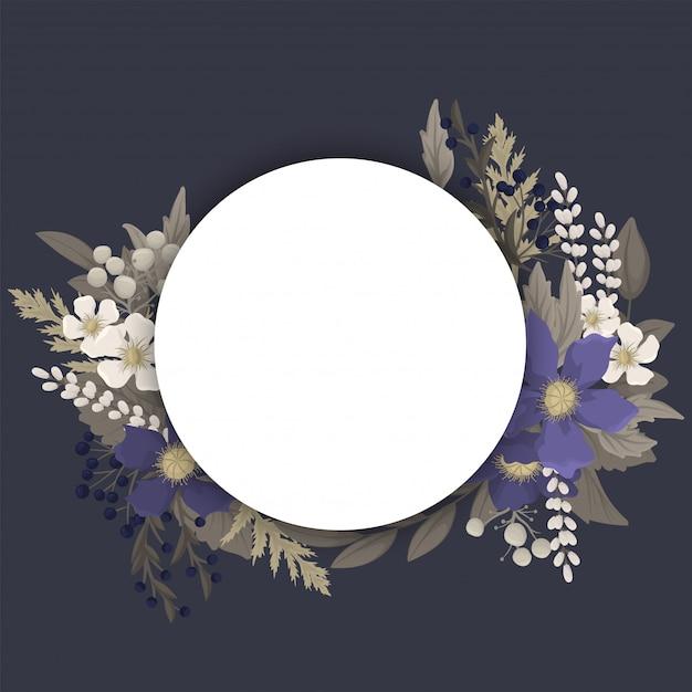 Fleur Sombre - Bordure De Cercle De Fleurs Bleues Vecteur Premium