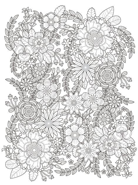 Fleurir La Page De Coloriage Floral En Ligne Exquise Vecteur Premium