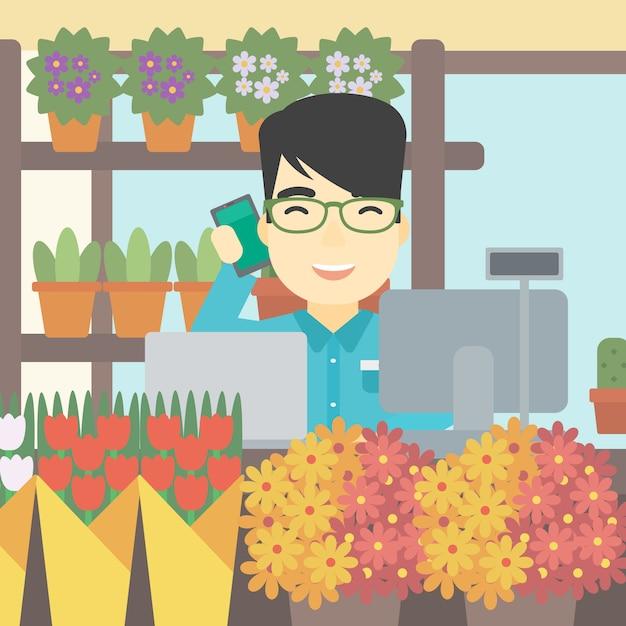 Fleuriste à l'illustration vectorielle de magasin de fleurs. Vecteur Premium
