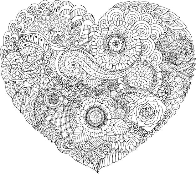 Fleurs Abstraites Et Feuilles En Forme De Coeur Vecteur Premium