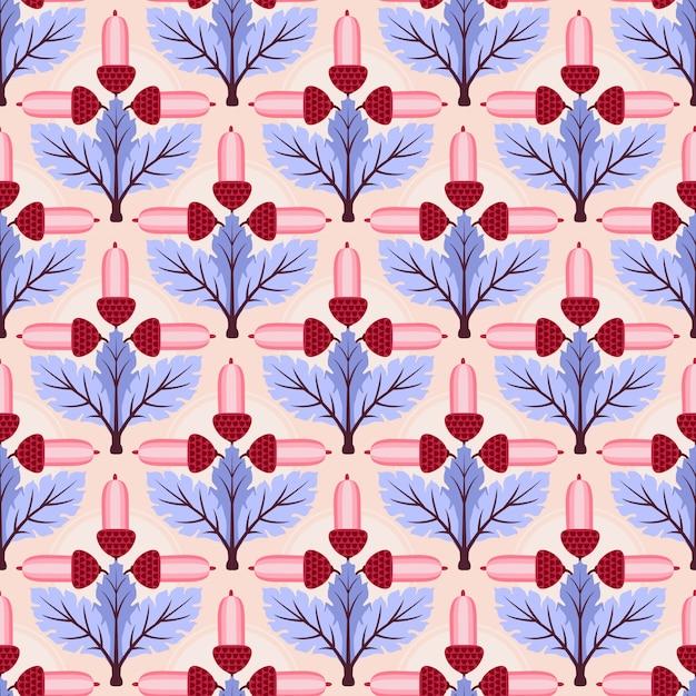 Fleurs abstraites et feuilles sans soudure de fond. Vecteur Premium
