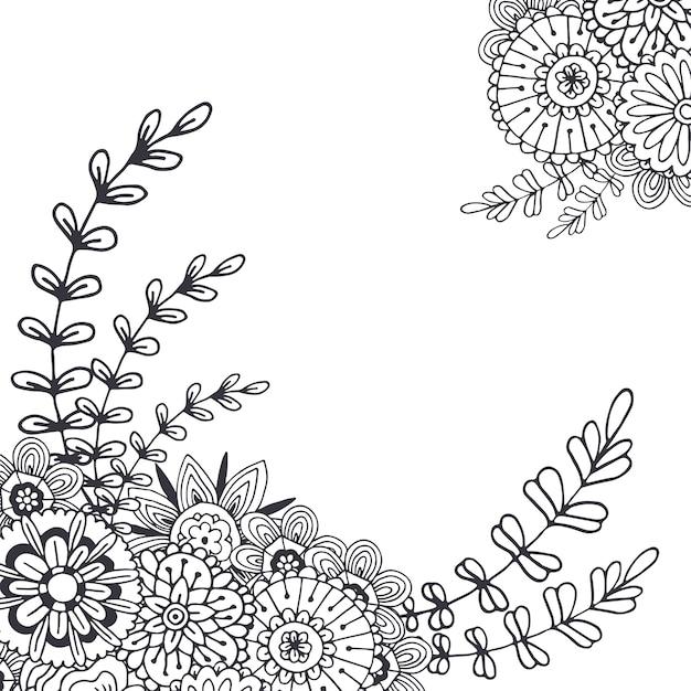 Coloriage Adulte A Imprimer Abstrait.Fleurs Abstraites De Vecteur Pour La Decoration Page De
