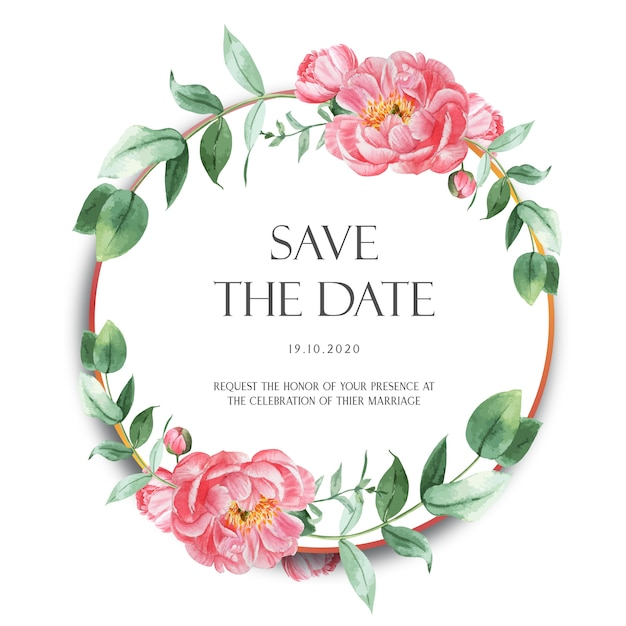 Fleurs d'aquarelle de couronnes de pivoines roses avec texte Vecteur gratuit