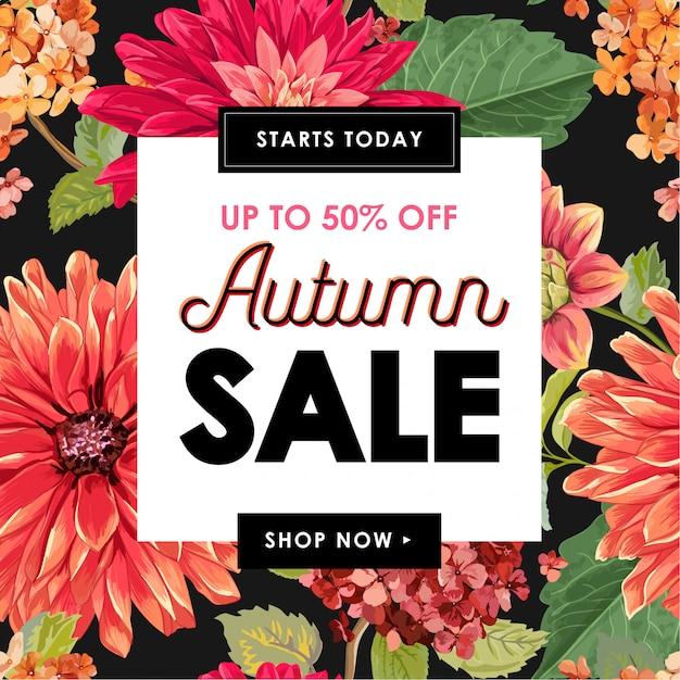 Fleurs d'automne tropical bannière vente Vecteur Premium