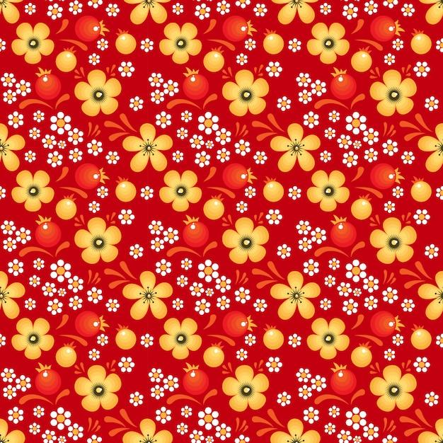 Fleurs et baies à la mode khokhloma Vecteur Premium