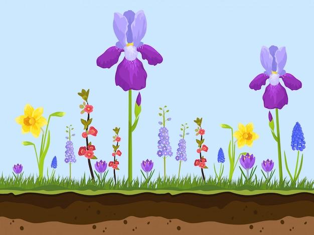 Fleurs de bande dessinée, couches d'herbe verte et de terre Vecteur Premium