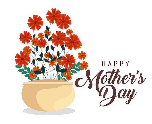 Fleurs de beauté plantes à la fête des mères Vecteur gratuit