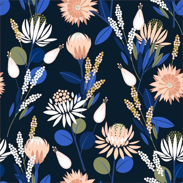 Fleurs de belle protée blooming dans le jardin plein de modèle sans couture de plantes botaniques dans la conception de vecteur pour la mode, papier peint, emballage et toutes les impressions Vecteur Premium