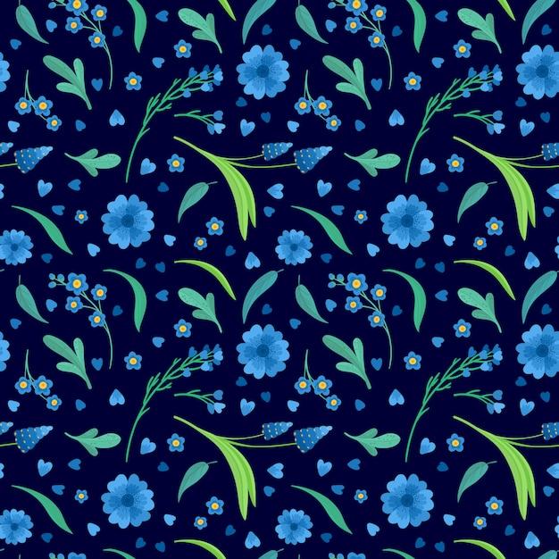 Fleurs Bleues Fleurs Modèle Sans Couture Rétro De Vecteur Plat. Fond Décoratif Marguerite Et Bleuet. Décor Floral. Fleurs Sauvages De Prairie Fleurie. Textile Vintage, Tissu, Papier Peint Design Vecteur gratuit