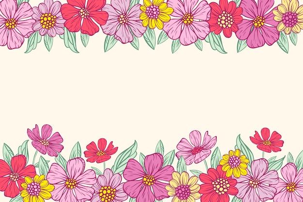 Fleurs Colorées Dessinées Sur Fond De Tableau Blanc Vecteur gratuit