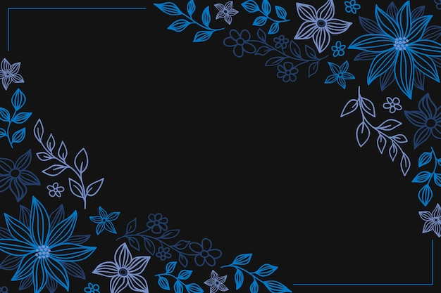 Fleurs Colorées Dessinées à La Main Sur Fond De Tableau Noir Vecteur gratuit