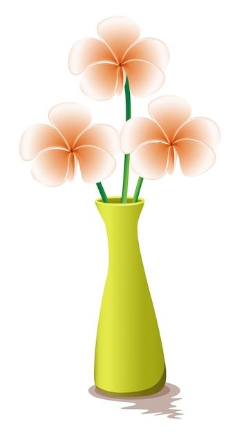 Fleurs dans un vase jaune Vecteur gratuit