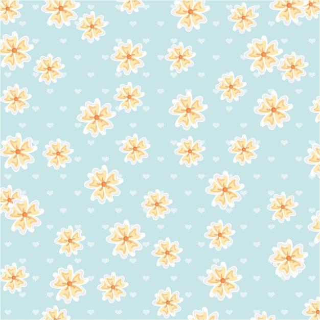 Fleurs design sur illustration vectorielle fond bleu Vecteur Premium