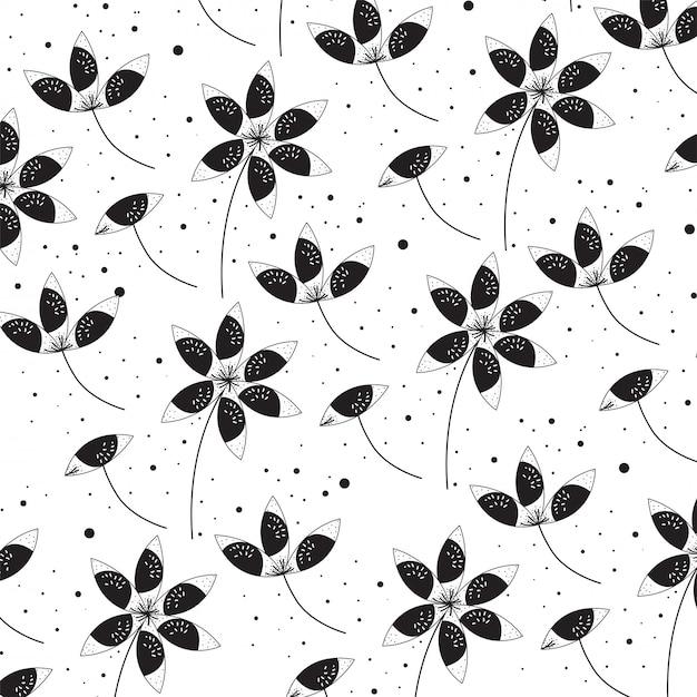 Fleurs dessin fond noir et blanc Vecteur Premium