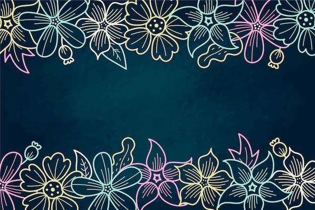 Fleurs Dessinées à La Main Avec Fond D'espace Copie Vecteur gratuit