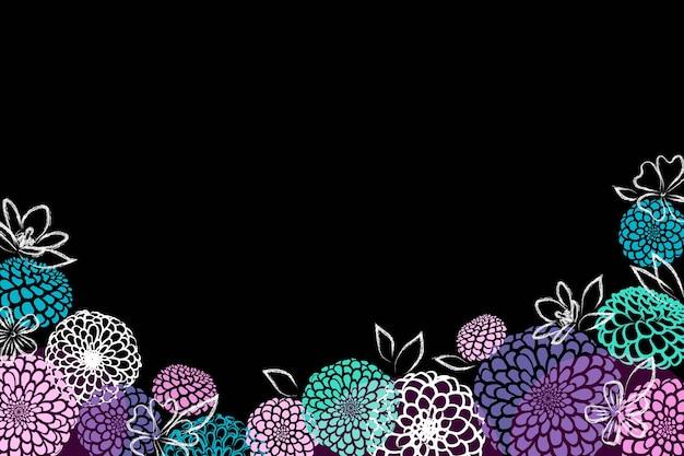 Fleurs Dessinées à La Main Sur Fond Noir Vecteur gratuit