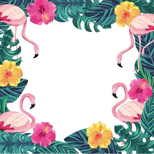 Fleurs exotiques avec des flamants roses et des feuilles Vecteur Premium
