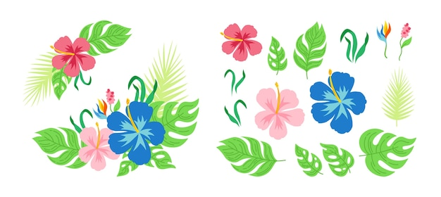 Fleurs Et Feuilles De Bouquet Tropical Carte De Dessin Anime Hawaienne Composition Plate Florale Pour Invitation Ou Vacances Collection Monstera Palmiers Et Fleurs Sauvages Jungle Dessinee A La Main Exotique Vecteur