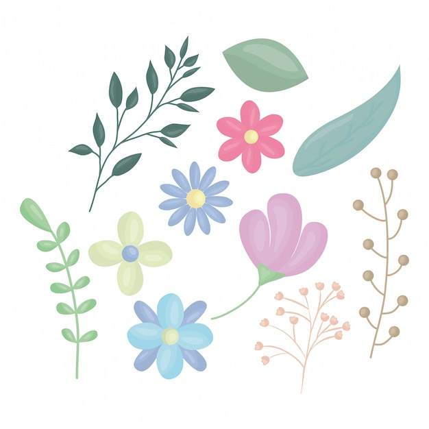 Fleurs et feuilles illustration vectorielle de décoration Vecteur gratuit