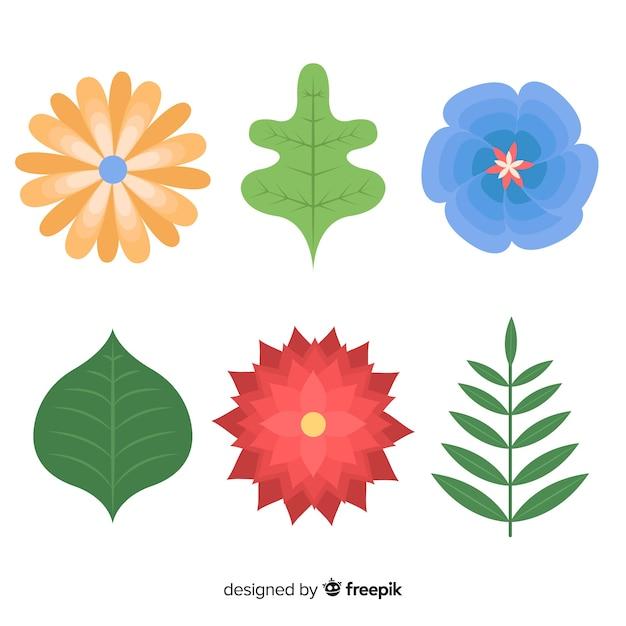 Fleurs et feuilles plates Vecteur gratuit