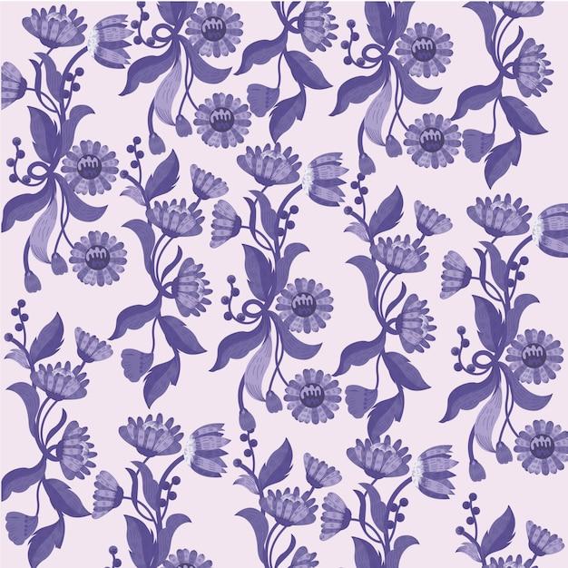 Fleurs fond violet Vecteur Premium