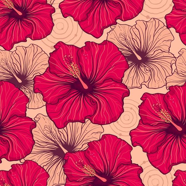 Fleurs d'hibiscus Vecteur Premium