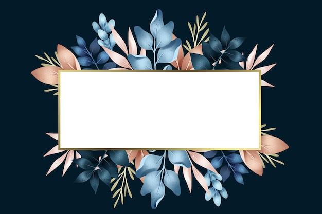 Fleurs d'hiver avec forme de bannière rectangle Vecteur gratuit