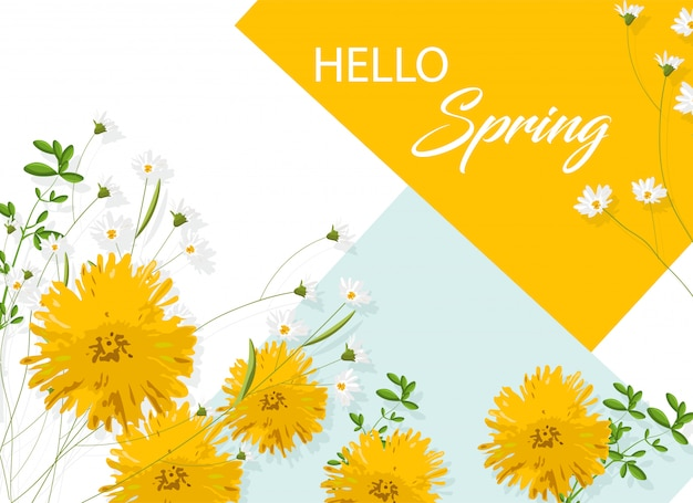 Fleurs Jaune Chrysanthème Avec Camomille Blanche. Bonjour Idée De Printemps Vecteur gratuit
