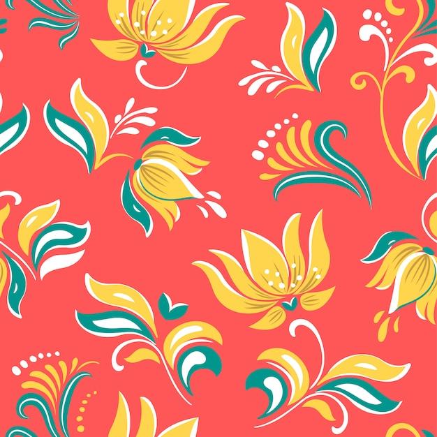Fleurs lumineuses floral russe magnifique ornement folklorique. Vecteur Premium