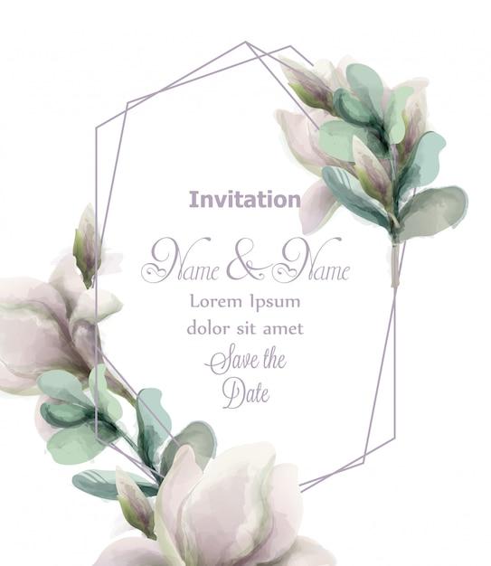Fleurs de magnolia avec aquarelle de cadre abstrait de paillettes Vecteur Premium