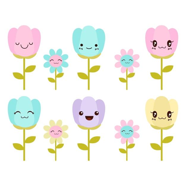 Fleurs mignonnes Vecteur Premium
