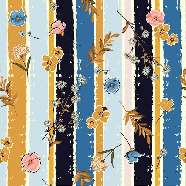 Fleurs sur le motif sans soudure rayures pinceau coloré bonbons Vecteur Premium