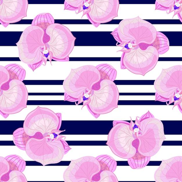 Fleurs d'orchidées sur rayures blanches et noires Vecteur Premium