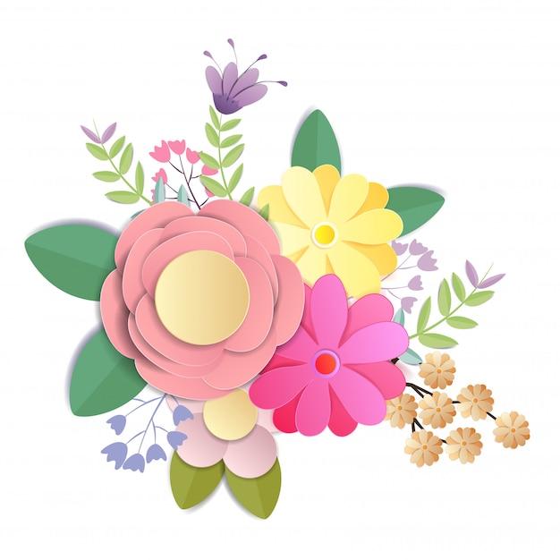 Fleurs en papier craft, bouquet floral festif, clipart nature isolé sur fond blanc, vecteur Vecteur Premium