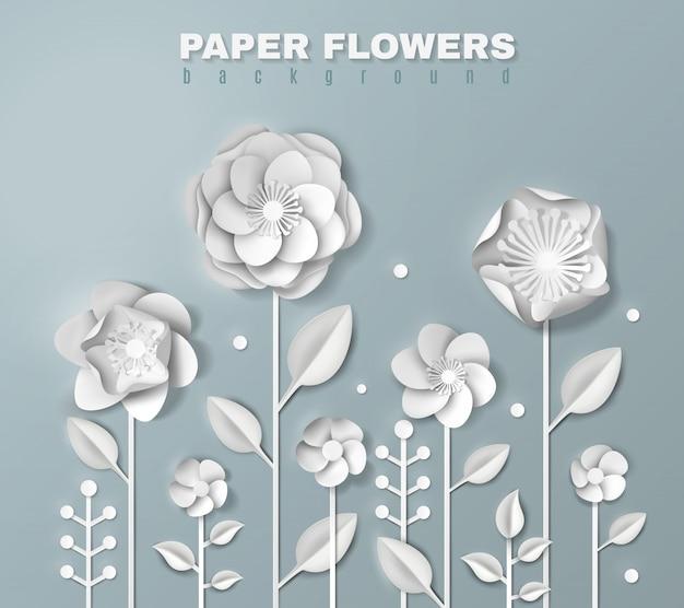 Fleurs de papier réalistes Vecteur gratuit