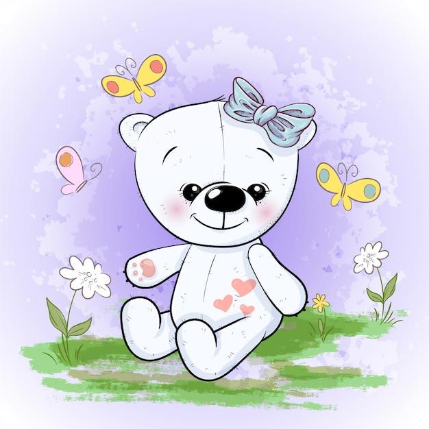 Fleurs et papillons mignons d'ours polaire. style de bande dessinée Vecteur Premium