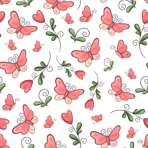 Fleurs et papillons de modèle sans couture. dessin à main levée. illustration vectorielle Vecteur Premium