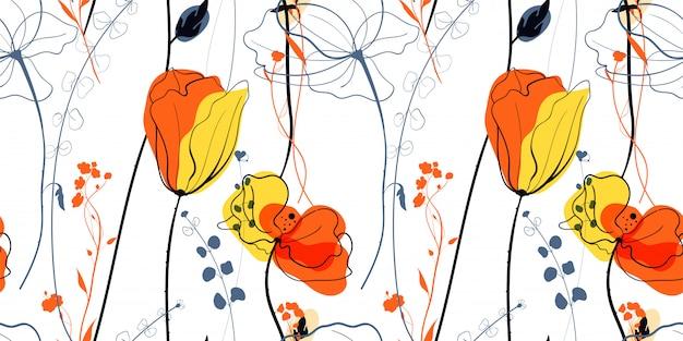 Fleurs De Pavot Des Prés Dans Le Style Scandinave Vecteur Premium