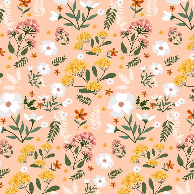 Fleurs Peintes à La Main Sur Motif De Tissu Vecteur gratuit