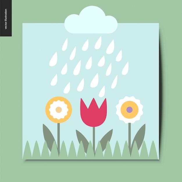 Fleurs et pluie Vecteur Premium