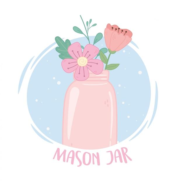 Fleurs De Pot Mason Rose Vecteur Premium