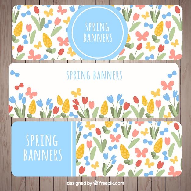 Fleurs De Printemps Des Bannières Et Des Papillons Vecteur gratuit