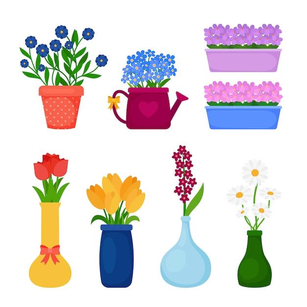 Fleurs de printemps en pots Vecteur Premium